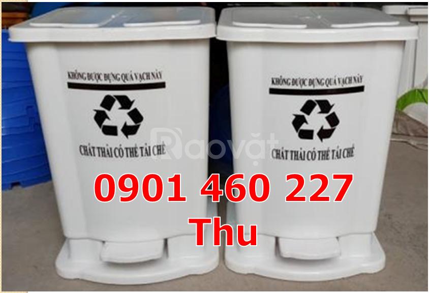 Bán thùng đựng rác y tế 20 lít, thùng rác y tế đạp chân 15 lít màu đen