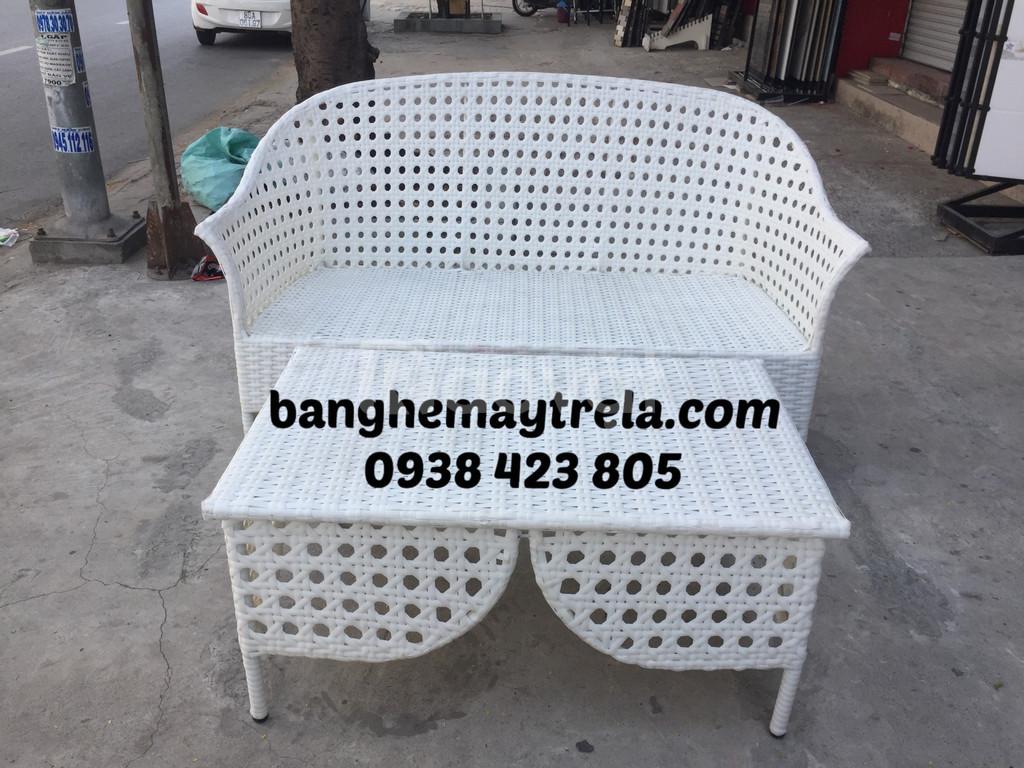 Bàn ghế sofa nhựa giả mây đan mắt cáo