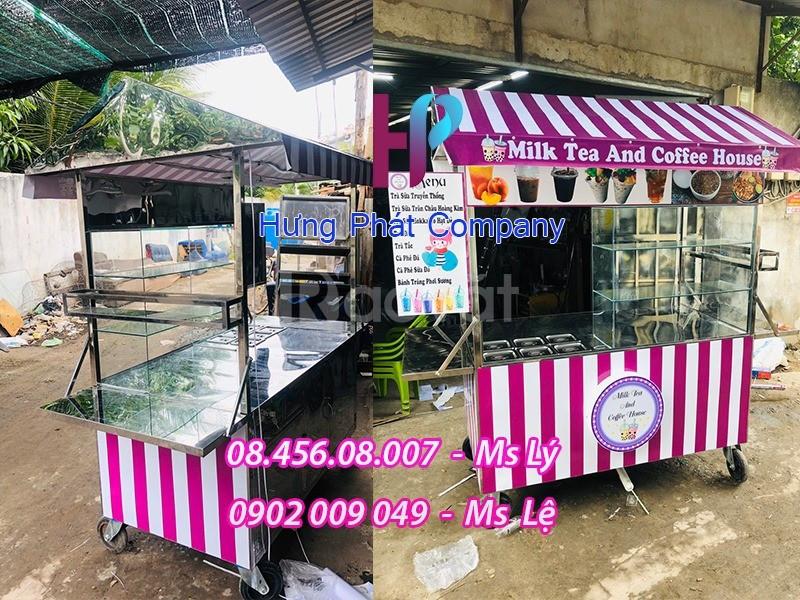Xe bán trà sữa màu tím phong cách dễ thương