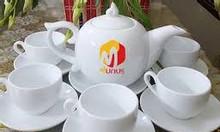 In logo bộ gốm sứ bát tràng- ly chén quà tặng Quảng Nam