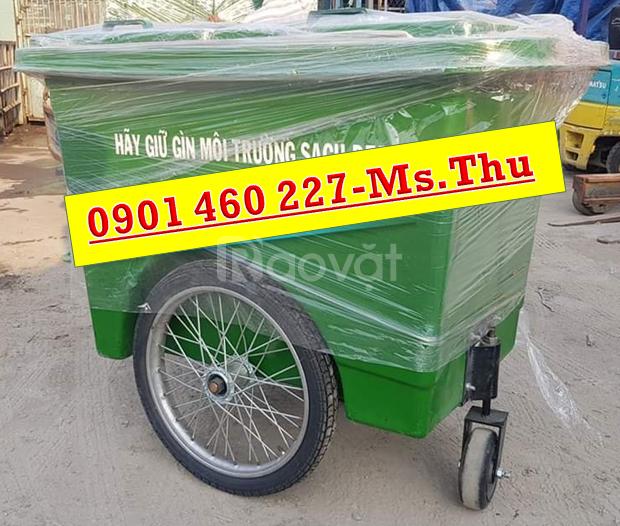 Xe thu gom rác 660 lít nhựa HDPE,xe đẩy rác 1000 lít composite
