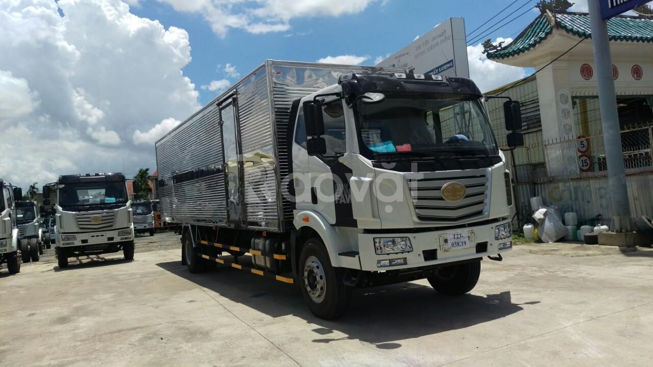 Xe tải faw thùng dài 9m8 chuyên chở hàng bao bì, nệm, pallet