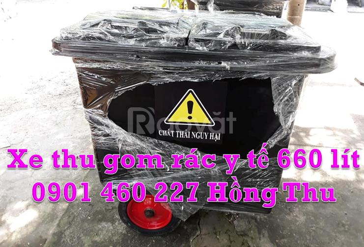 Xe thu gom rác, xe đẩy rác 660 lít, 1000 lít