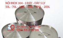 Nồi inox 304 dung tích lớn 100L nấu nước lèo, hầm xương tại Long An