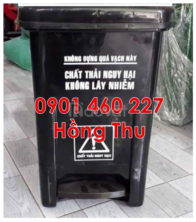 Thùng rác y tế 20 lít màu trắng, thùng rác y tế 15L đạp chân màu đen