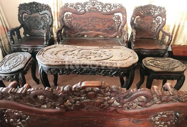 Kẹt tiền cần bán gấp bộ bàn ghế gỗ Linh tự nhiên