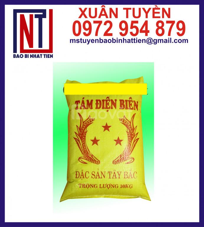 Bao PP dệt màu vàng in flexo đựng gạo