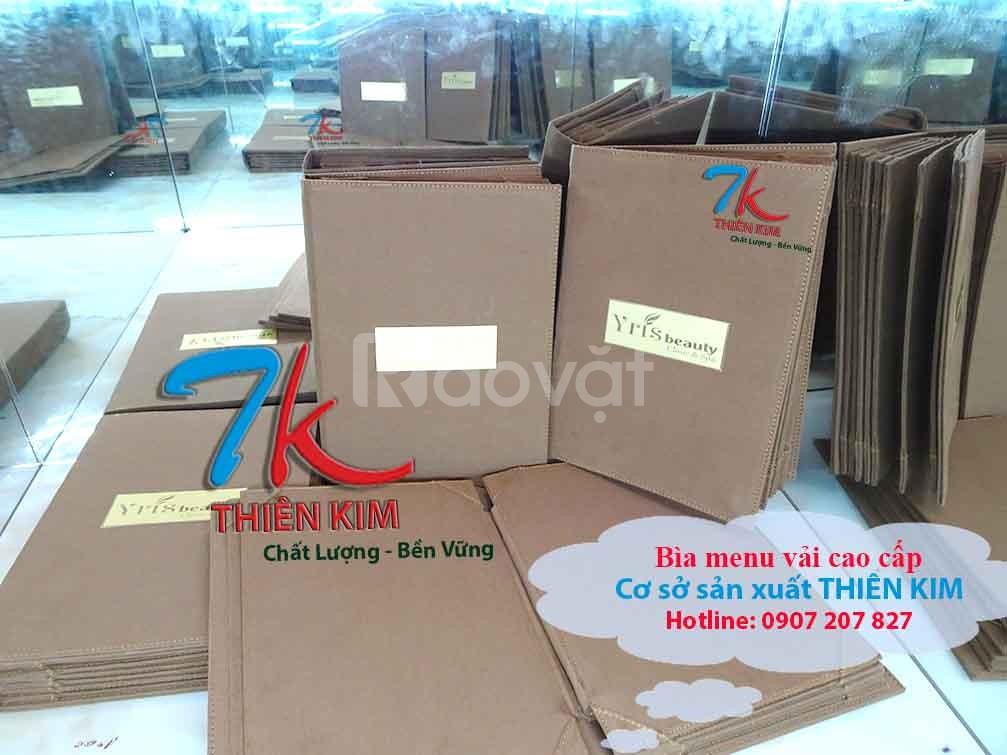 Chỗ chuyên làm bìa menu vải, xưởng sản xuất bìa vải inox theo yêu cầu