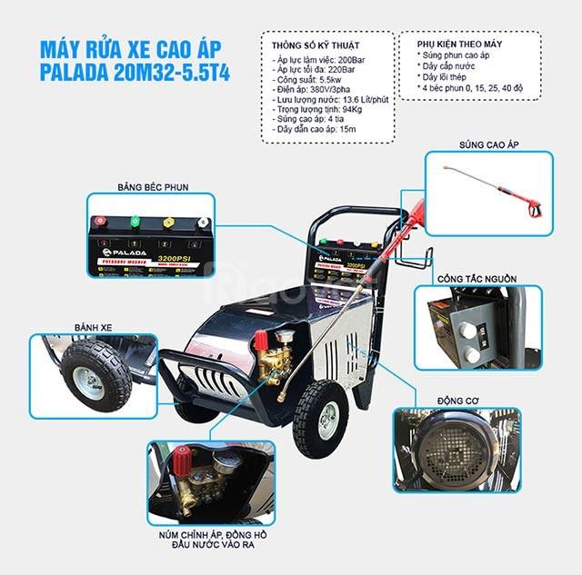 Máy bơm rửa xe áp lực cao Lutian 20M32-5.5T4