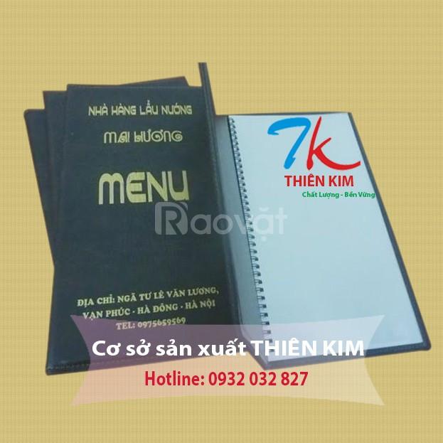 Xưởng cung cấp bìa menu da, bìa menu bắt vít, bìa menu gáy lò xo, menu
