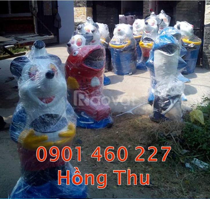 Thùng nhựa đựng rác cá heo, thùng đựng rác con vật thùng rác chuột túi