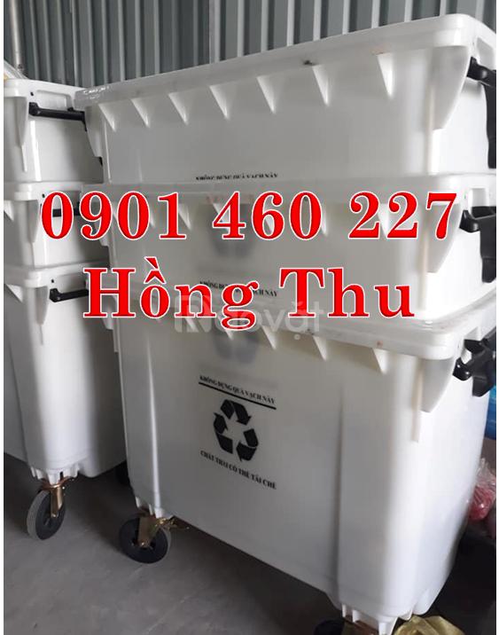 Xe thu gom rác 660 lít xe đẩy rác 1000 lít nhựa công nghiệp Composite