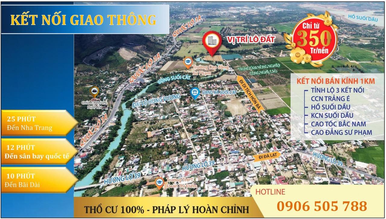 Cần bán đất Suối Cát view sông Suối Dầu Khánh Hòa giá chỉ từ 320tr