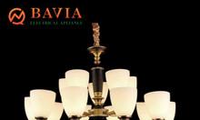 Đèn chùm đồng chao đá BAVIA QN-HT966