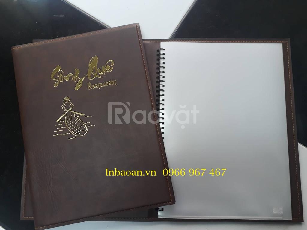 In quyển menu da, quyển menu da có sẵn, báo giá quyển menu da
