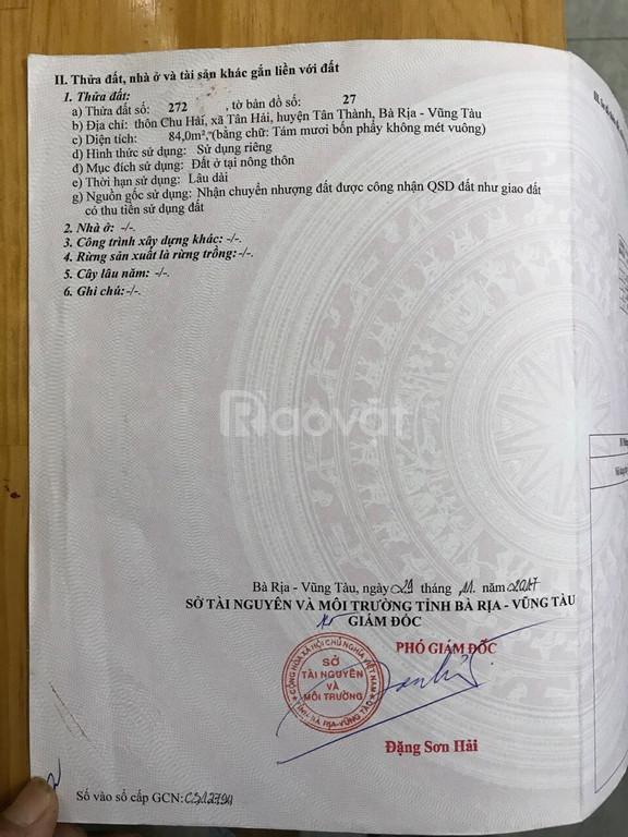 Cần bán đất chính chủ ở xã Tân Hải, huyện Tân Thành, tỉnh BR-VT
