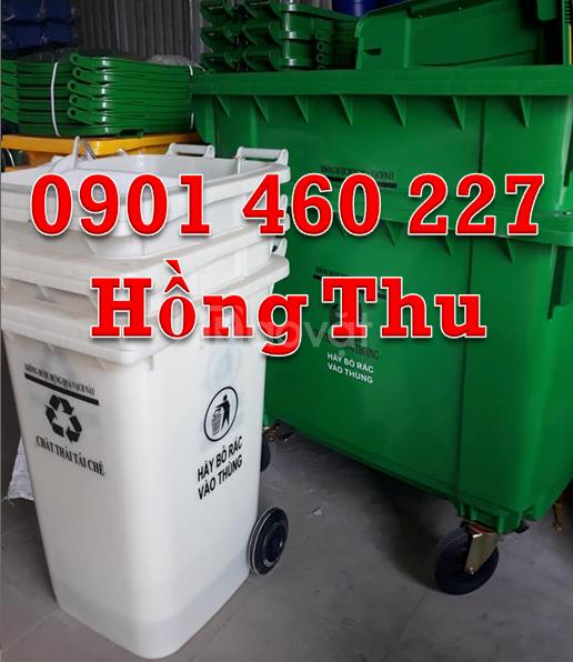 Thùng rác màu cam 120 lít nắp kín,thùng nhựa đựng rác HDPE 240 lít