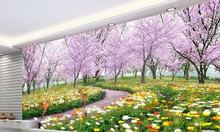 Tranh tường- gạch tranh 3d vườn hoa