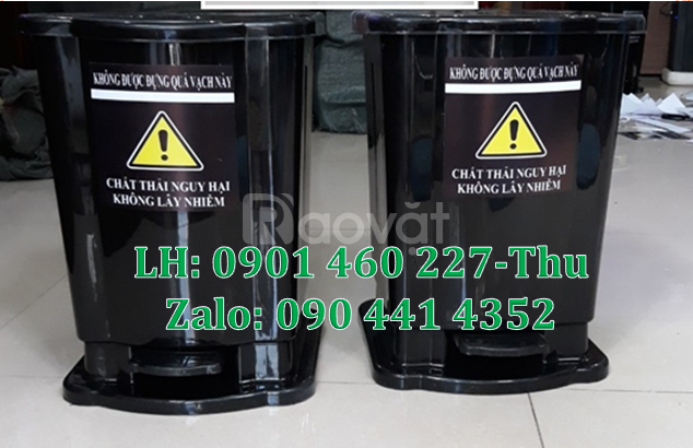 Thùng đựng rác y tế 20L, thùng rác y tế đạp chân 15L màu đen