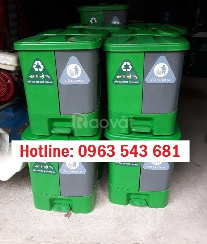 Cung cấp thùng rác 2 ngăn 40 lít, thùng y tế đạp chân 2 ngăn 40 lít