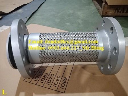 Khớp nối mềm có 1 lớp lưới inox 304 (nối bích ) (ảnh 5)