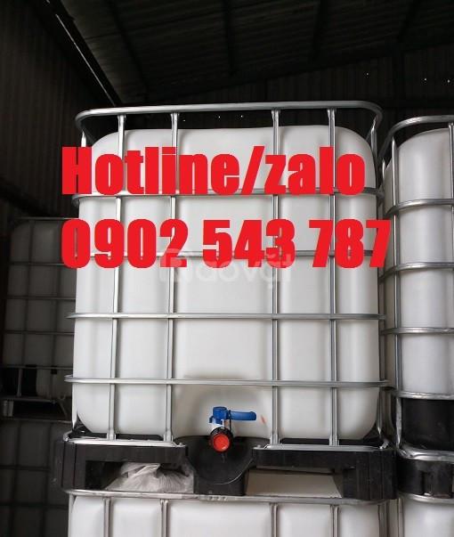 Bình chứa hóa chất 1000 lít, thùng nhựa trắng 1000 lít mới 95%