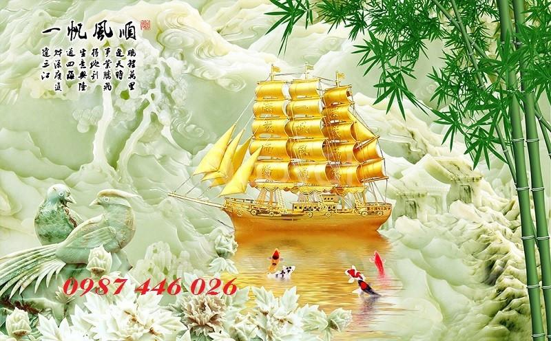 Gạch tranh 3d thuyền vàng