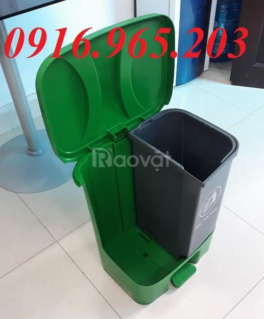 Thùng đựng rác 2 ngăn 40l phân loại rác thải tại nguồn