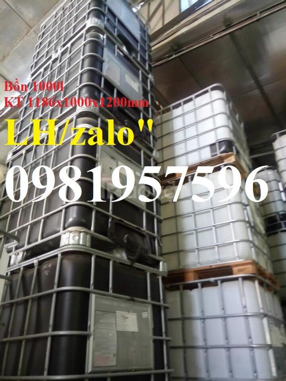 Bồn nhựa đựng hóa chất 1000 lít, tank IBC 1000 lít