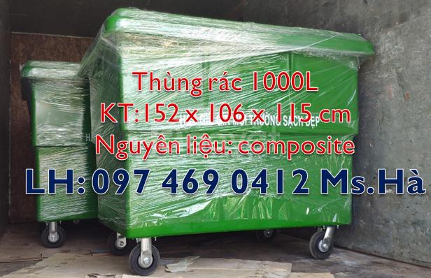 Xe đẩy rác màu cam 660 lít,thùng rác 1000 lít màu trắng,thùng rác 660L