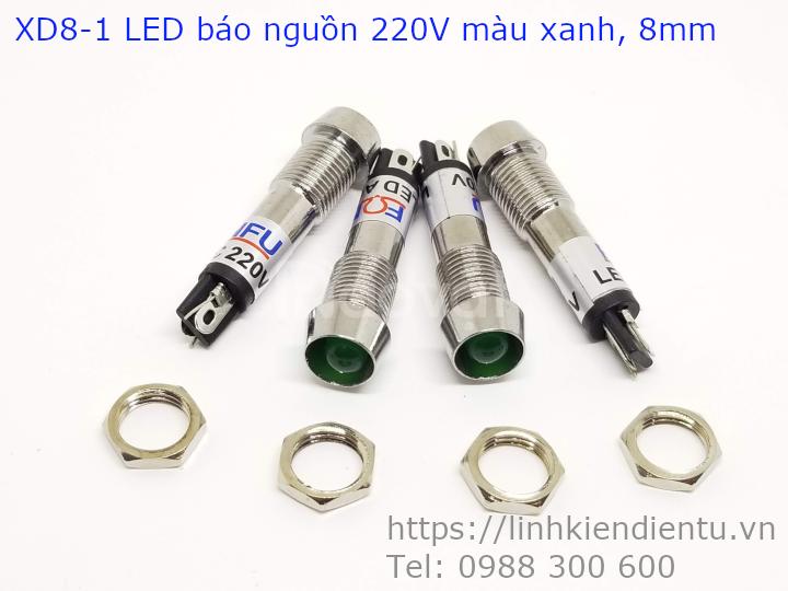Đèn led báo nguồn XD8-1, vỏ inox, phi 8mm, màu xanh, đỏ và vàng