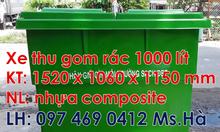 Bán thùng rác 660l màu trắng,xe đẩy rác 1000l màu vàng tại quận 10