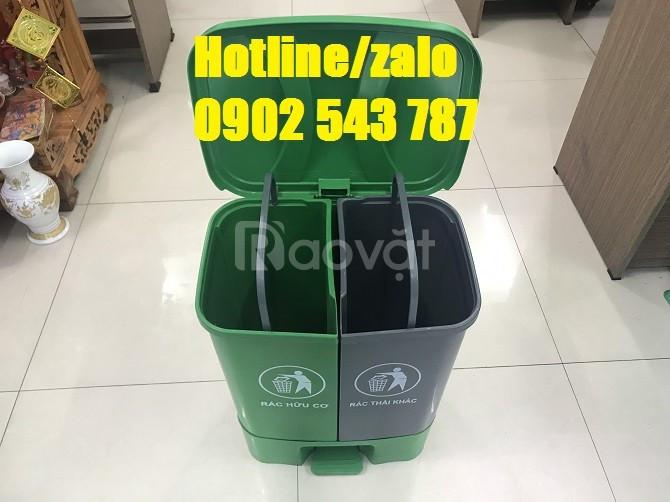 Thùng rác nhựa phân 2 ngăn, thùng phân loại rác  2 ngăn tại nguồn