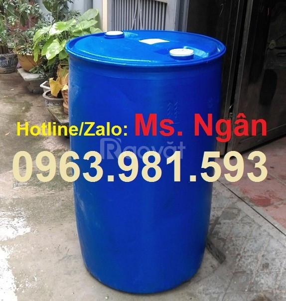 Thùng phuy nhựa nắp kín cũ, thùng phuy nhựa 220 lít đã qua sử dụng