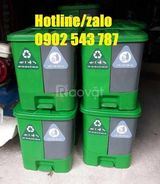 Thùng rác 2 ngăn composite, thùng rác 2 ngăn nhựa HDPE giá rẻ