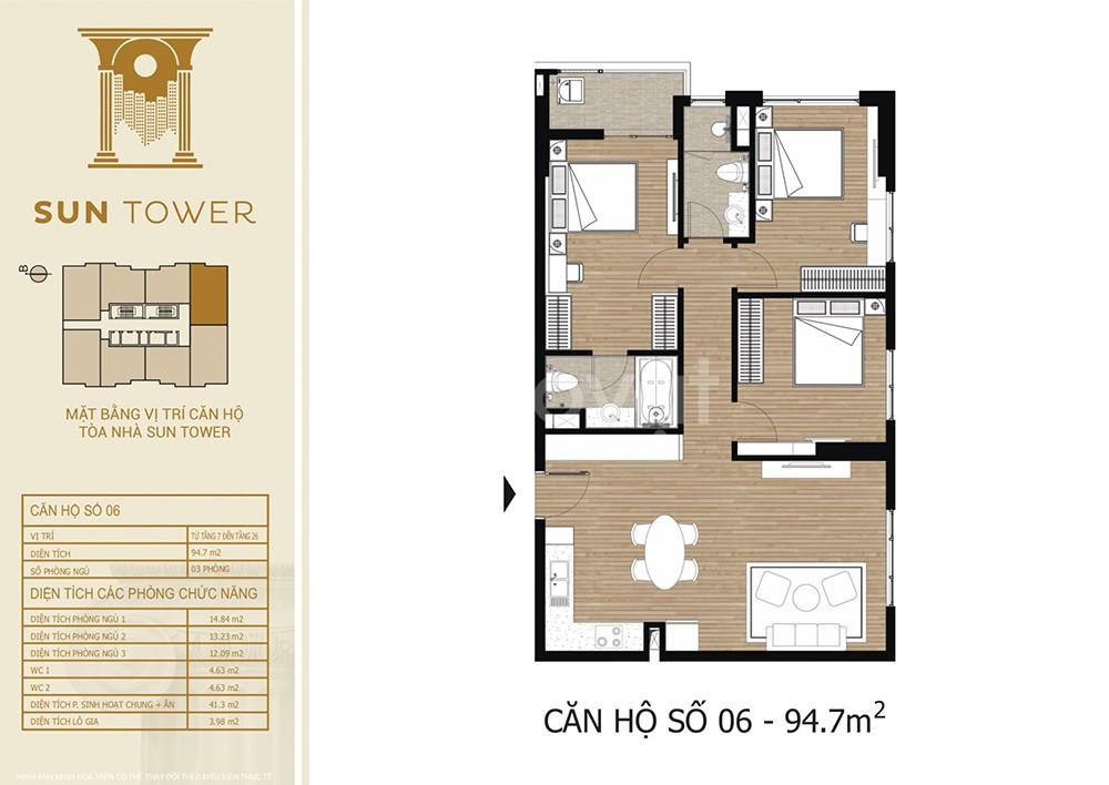 Bán căn hộ Tây Hồ Residence 94,7m2 3PN giá chỉ 3,7 tỷ full nội thất