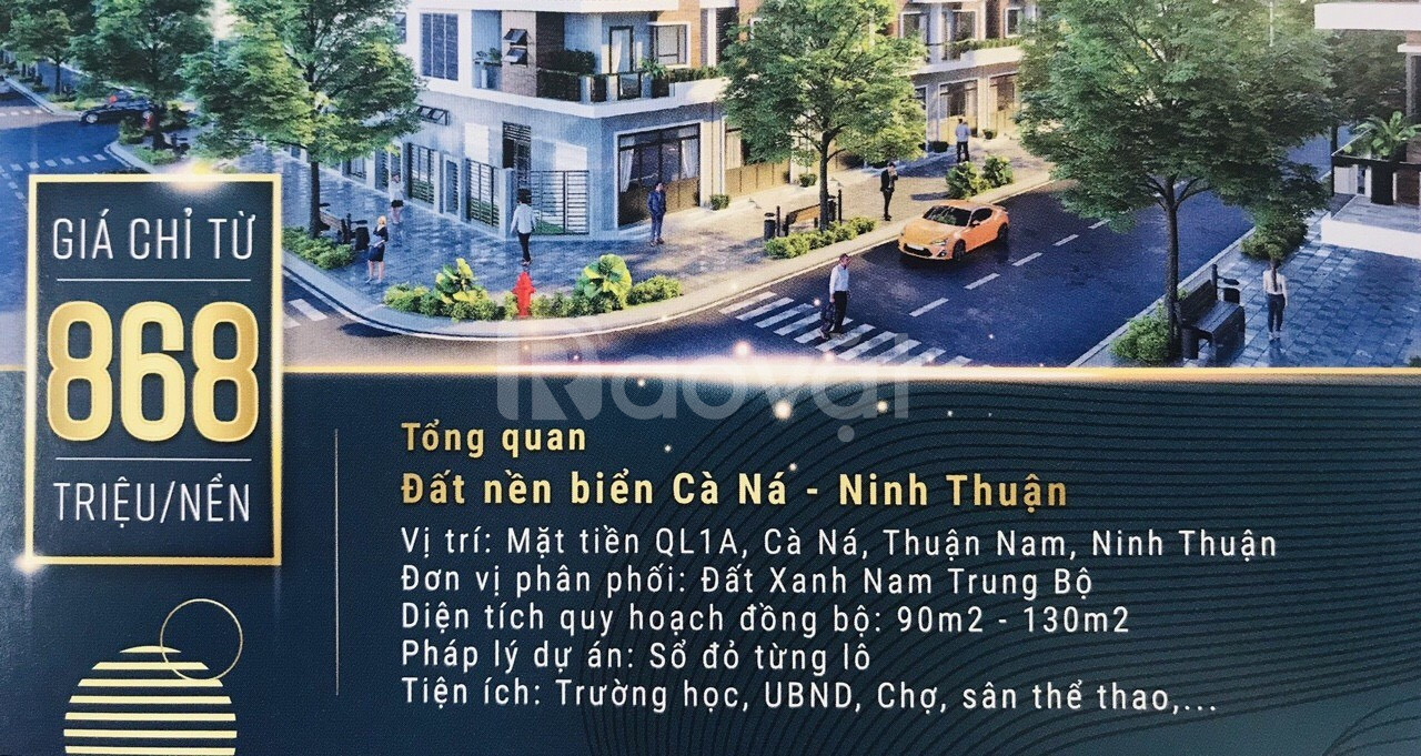 Bán đất sổ đỏ cạnh cảng biển quốc tế Ninh Thuận giá 868tr/ nền