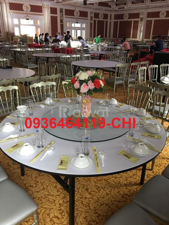 Bàn tròn nhà hàng, bàn chữ nhật hội nghị, mặt kính xoay, trục kính
