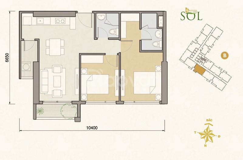 Cho thuê căn hộ Masteri An phú 69.6m² 2PN