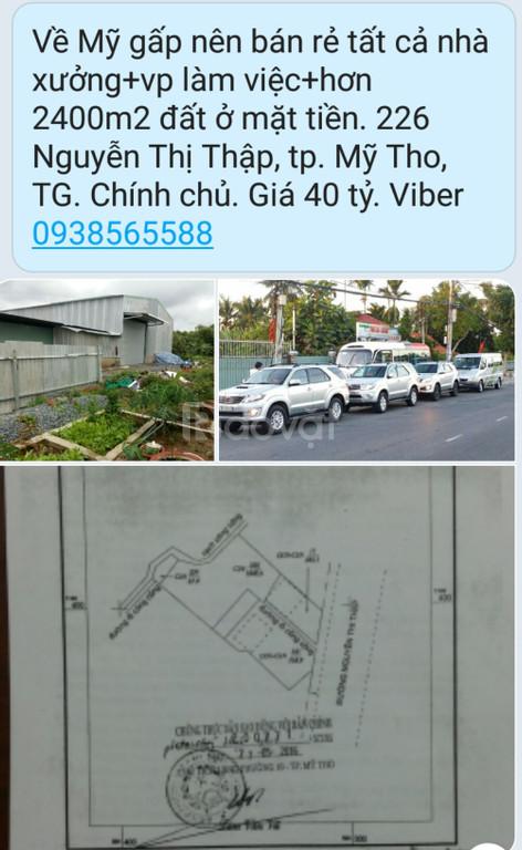 Chính chủ bán nhanh nhà xưởng, 2400m2 đất CLN+ODT, TP. Mỹ Tho