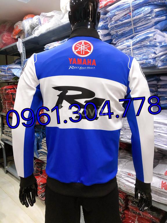 Áo khoác thể thao yamaha R1 trắng xanh