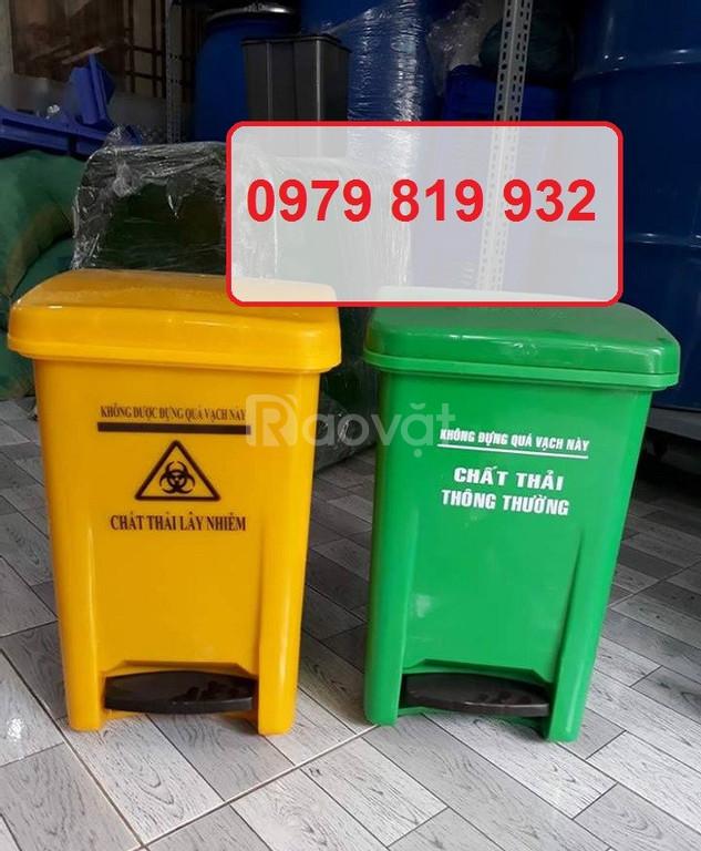 Thùng rác đạp chân y tế 20 lít màu vàng