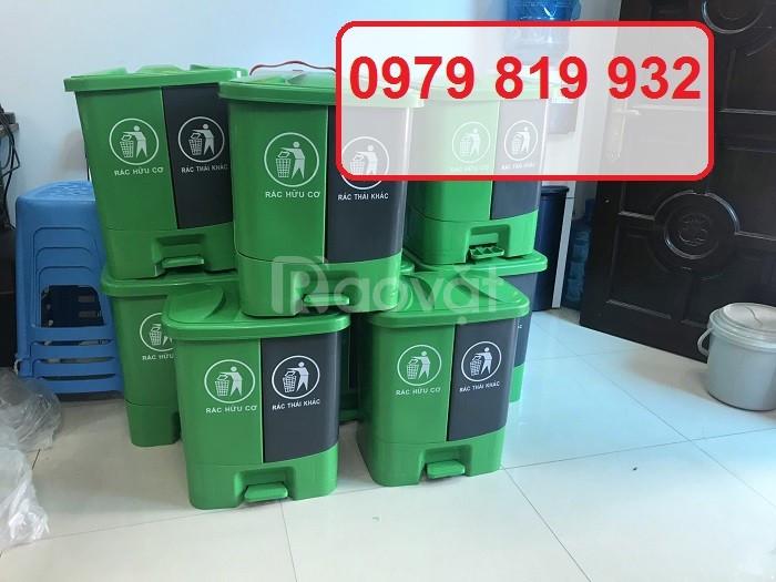 Thùng rác đạp chân 2 ngăn thùng phân loại rác