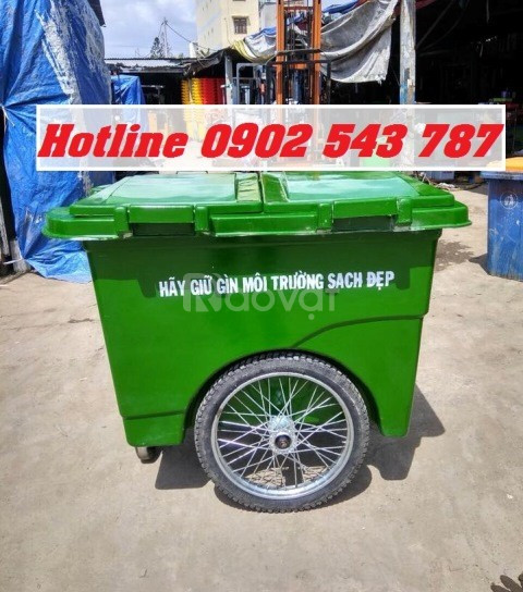 Xe thu gom rác 1000 lít bánh hơi, thùng rác 1000L composite bánh hơi