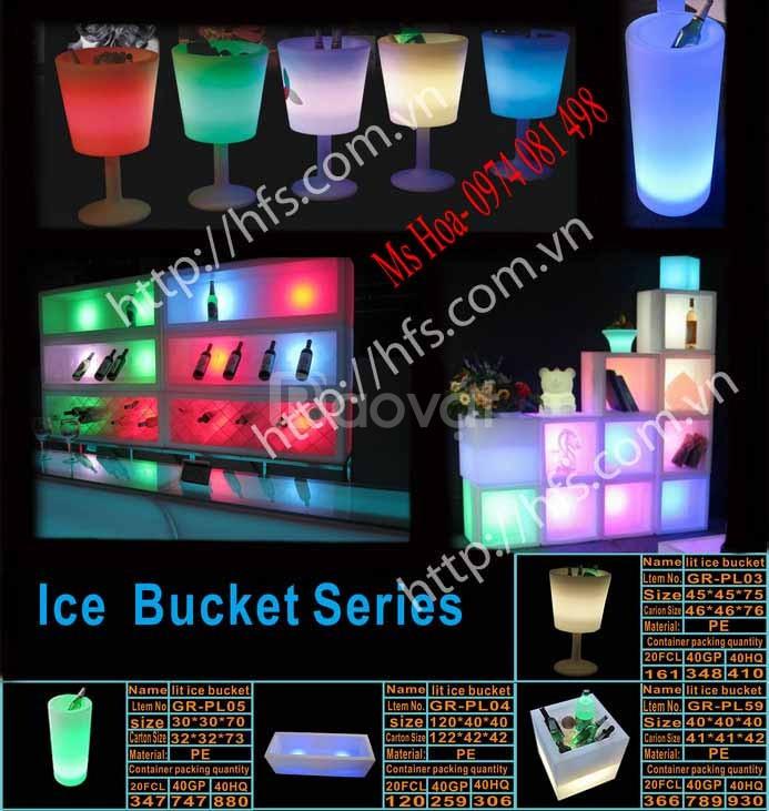 Bàn ghế nhựa led, bàn cocktail phát sáng