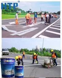 Bán sơn kẻ vạch dẻo nhiệt Joton Joline màu trắng giá tốt ở Ninh Thuận