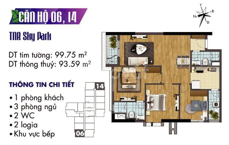 Bán căn hộ chung cư 93m2 (3PN) , CK 500 triệu, chỉ đóng 50% nhận nhà