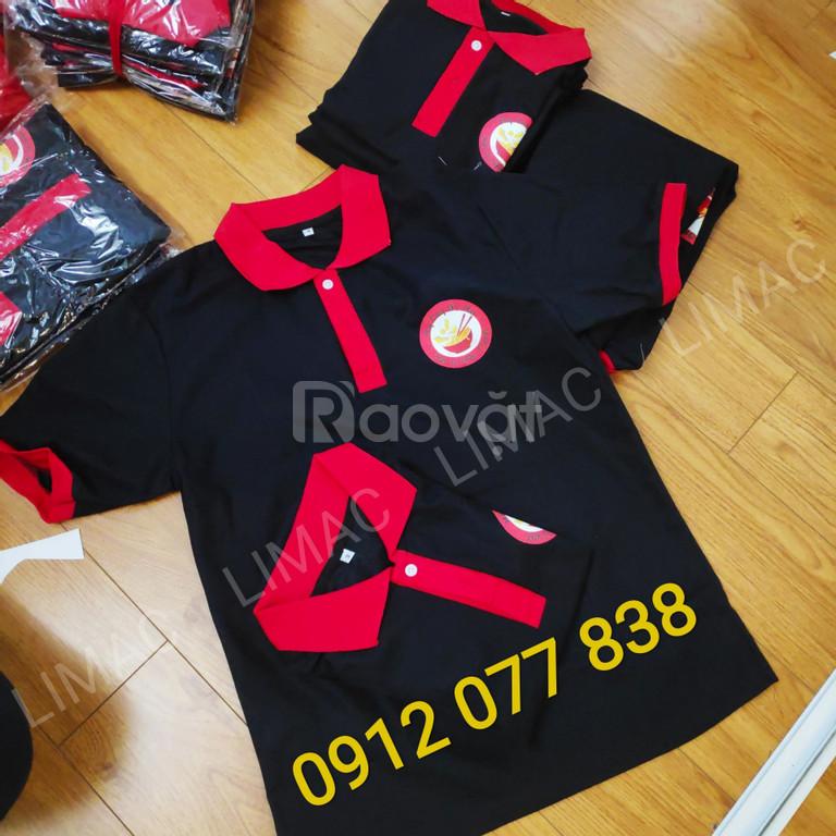 Áo đồng phục quán mỳ cay màu đen cổ đỏ