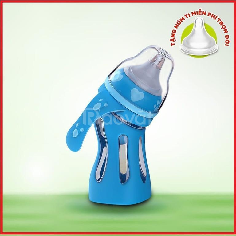 Bình sữa thủy tinh cong báo nhiệt Tiny Baby Formula 180ml