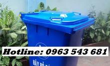 Thùng rác 120 lít màu xanh dương, thùng rác 240 lít màu dương